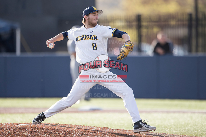 Michigan Wolverines pitcher Ryan Nutof (8) delivers a pitch to the plate against the Central Michigan Chippewas on May 9, 2017 at Ray Fisher Stadium in Ann Arbor, Michigan. Michigan defeated Central Michigan 4-2. (Andrew Woolley/Four Seam Images)