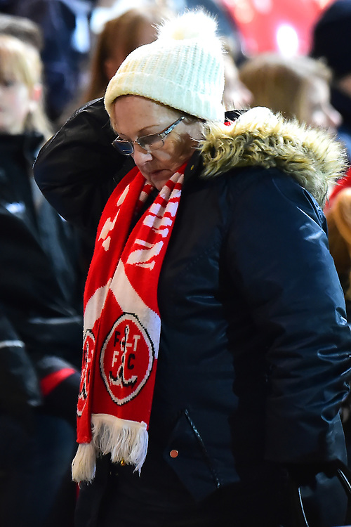 A Fleetwood Town fan looks on<br /> <br /> Photographer Richard Martin-Roberts/CameraSport<br /> <br /> The EFL Sky Bet League One - Fleetwood Town v Portsmouth - Saturday 29th December 2018 - Highbury Stadium - Fleetwood<br /> <br /> World Copyright © 2018 CameraSport. All rights reserved. 43 Linden Ave. Countesthorpe. Leicester. England. LE8 5PG - Tel: +44 (0) 116 277 4147 - admin@camerasport.com - www.camerasport.com