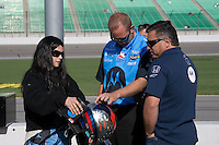 Andretti Green Racing driver Danica Patrick talks with her crew during practice laps for the Kansas Lottery Indy 300 at Kansas Speedway in Kansas City, Kansas on April 28, 2007.
