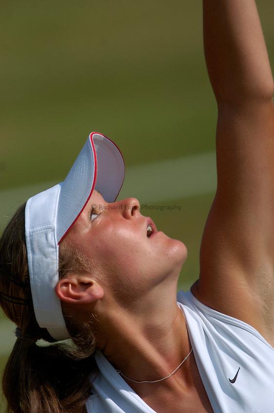 Photo: Richard Lane..Wimbledon Championships. 03/07/2006. .Agnieszka Radwansk of Poland serves.