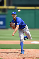 Dunedin Blue Jays pitcher Daniel Norris (22) delivers a pitch during a game against the Clearwater Threshers on April 6, 2014 at Bright House Field in Clearwater, Florida.  Dunedin defeated Clearwater 5-2.  (Mike Janes/Four Seam Images)