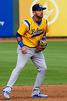 Biloxi Shuckers second baseman Javier Betancourt (7) during a Southern League game against the Tennessee Smokies on May 25, 2017 at Smokies Stadium in Kodak, Tennessee.  Tennessee defeated Biloxi 10-4. (Brad Krause/Krause Sports Photography)