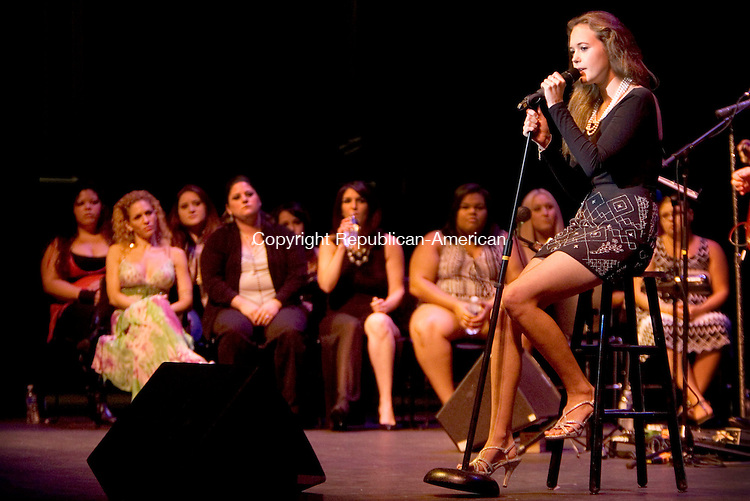 TORRINGTON CT. 23 August 2014-082314SV16-Lea Vedovelli of Litchfield sings during the Ninth annual Northwest Idol finals at the Warner Theatre in Torrington Saturday.<br /> Steven Valenti Republican-American