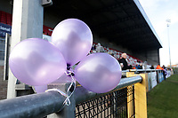 Purple balloons in tribute to the passing of Harold Hill schoolgirl Jodie Chesney during Dagenham & Redbridge vs Bromley, Vanarama National League Football at the Chigwell Construction Stadium on 9th March 2019