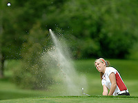 Bellingham's Katie Sharpe blasts out of the sand on the 17th hole at Semiahmoo Golf and Country Club during the 2A girls golf championship match on Wednesday, May 22, 2007. Sharpe won the competition and Bellingham won as a team.