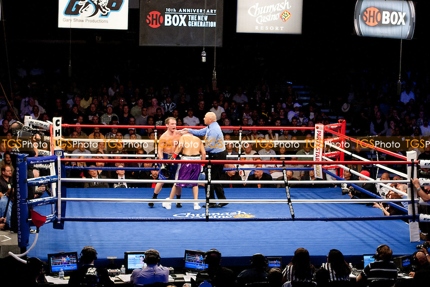 Jonathan Gonzalez (14-0-0, 13 KOs) from Puero Rico in purple shorts defeated Billy Lyell (24-10-0, 5 KOs) from Youngstown, Ohio, in blue shorts in a 10 round Junior Middleweight bout by a unanimous decision - ShoBox: The New Generation (Showtime network) at the Chumash Casino Resort in Santa Ynez, California, produced by Gary Shaw Productions - 17/2/12 - Dwight McCann/TGSPHOTO - Self billing applies where appropriate - 0845 094 6026 - contact@tgsphoto.co.uk - NO UNPAID USE