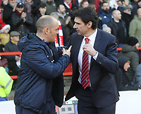 Preston North End's Manager Alex Neil greets Nottingham Forest's Manager Mark Aitor Karanka<br /> <br /> Photographer Mick Walker/CameraSport<br /> <br /> The EFL Sky Bet Championship - Nottingham Forest v Preston North End - Saturday 8th December 2018 - The City Ground - Nottingham<br /> <br /> World Copyright © 2018 CameraSport. All rights reserved. 43 Linden Ave. Countesthorpe. Leicester. England. LE8 5PG - Tel: +44 (0) 116 277 4147 - admin@camerasport.com - www.camerasport.com