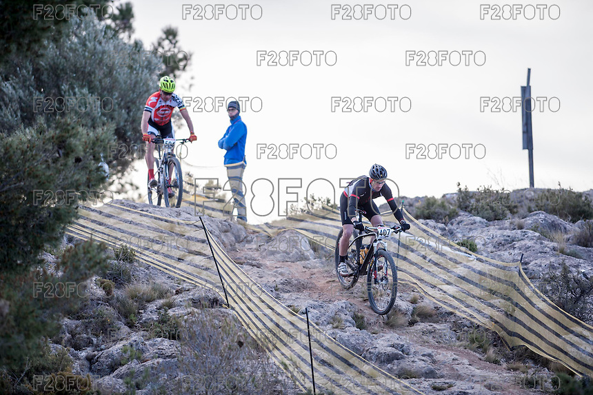 Chelva, SPAIN - MARCH 6: Pablo Fernando Arcusa, Cristobal Jover during Spanish Open BTT XCO on March 6, 2016 in Chelva, Spain