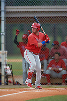 Philadelphia Phillies Rixon Wingrove (52) at bat during an Instructional League game against the Detroit Tigers on September 19, 2019 at Tigertown in Lakeland, Florida.  (Mike Janes/Four Seam Images)