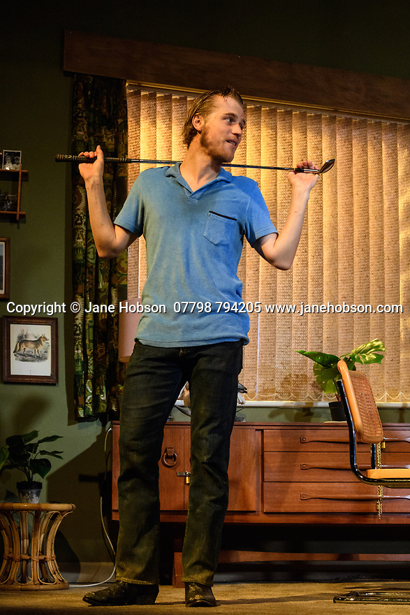 "The first UK production, since the death of playwright Sam Shepard's play ""True West"", opens at the Vaudeville Theatre, directed by Matthew Dunster. Kit Harington and Johnny Flynn star, as brothers Austin and Lee, with Madeleine Potter and Donald Sage Mackay completing the cast. Picture shows: Johnny Flynn (Lee)."