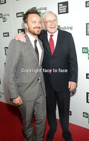Warren Buffett and Aaron Paul attend The Film Society Of Lincoln Center And AMC Celebration Of 'Breaking Bad' Final Episodes at The Film Society of Lincoln Center, Walter Reade Theatre in New York, 31.07.2013.<br /> Credit: MediaPunch/face to face<br /> - Germany, Austria, Switzerland, Eastern Europe, Australia, UK, USA, Taiwan, Singapore, China, Malaysia, Thailand, Sweden, Estonia, Latvia and Lithuania rights only -