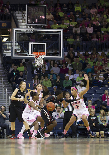 February 02, 2013:  A general view as Notre Dame guards Skylar Diggins (4) and Kaila Turner (15) defend during NCAA Basketball game action between the Notre Dame Fighting Irish and the Cincinnati Bearcats at Purcell Pavilion at the Joyce Center in South Bend, Indiana.  Notre Dame defeated Cincinnati 64-42.