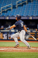 Erik Ostberg (16) follows through on a swing during the Tampa Bay Rays Instructional League Intrasquad World Series game on October 3, 2018 at the Tropicana Field in St. Petersburg, Florida.  (Mike Janes/Four Seam Images)