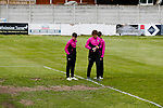 Jersey players inspect the six yard box. Yorkshire v Parishes of Jersey, CONIFA Heritage Cup, Ingfield Stadium, Ossett. Yorkshire's first competitive game. The Yorkshire International Football Association was formed in 2017 and accepted by CONIFA in 2018. Their first competative fixture saw them host Parishes of Jersey in the Heritage Cup at Ingfield stadium in Ossett. Yorkshire won 1-0 with a 93 minute goal in front of 521 people. Photo by Paul Thompson