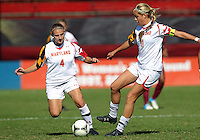 COLLEGE PARK, MD - OCTOBER 21, 2012:  Cory Ryan (4) and Olivia Wagner (11) of the University of Maryland during an ACC women's match against Florida State at Ludwig Field in College Park, MD. on October 21. Florida won 1-0.