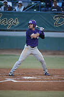 Austen Wade (8) of the TCU Horned Toads bats against the Long Beach State Dirtbags  at Blair Field on March 14, 2017 in Long Beach, California. Long Beach defeated TCU, 7-0. (Larry Goren/Four Seam Images)