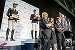 Scott Brash, Julien Epaillard, Gerco Schröder, Walter Von Känel, Fernanda Ameeuw and Juan-Carlos Capelli at the price ceremony of the Longines Hong Kong Masters 2015 at the Asiaworld Expo on 13 February 2015 in Hong Kong, China. Photo by Jerome Favre / Power Sport Images