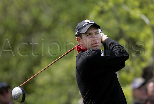 13 May 2005: English golfer Brian Davis looks into the distance after playing from the tee during the second round of the The Daily Telegraph Dunlop Masters played at the Forest of Arden, Warwickshire. Photo: Neil Tingle/Actionplus..050513 golf golfer player