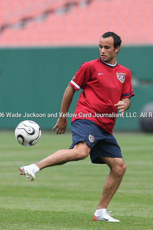 25 May 2006,  Forward, Landon Donovan juggles the ball while taking shots during practice.  The USA Mens National soccer team held a practice session before taking on Venezuela in an international friendly match at Cleveland Browns Stadium in Cleveland, Ohio in their preparation for competition at World Cup 2006 in Germany.