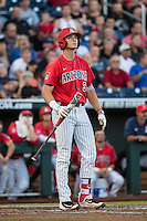 Bobby Dalbec #3 of the Arizona Wildcats bats during a College World Series Finals game between the Coastal Carolina Chanticleers and Arizona Wildcats at TD Ameritrade Park on June 28, 2016 in Omaha, Nebraska. (Brace Hemmelgarn/Four Seam Images)
