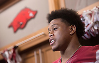 Hawgs Illustrated /BEN GOFF @NWABENGOFF<br /> Devwah Whaley, sophomore running back from Beaumont, Texas, talks to the press in the locker room Saturday, Aug. 5, 2017, during Arkansas football media day at the Fred W. Smith Football Center in Fayetteville.