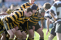 The front rows prepare to engage during the Northern Bank Schools Cup Final at Ravenhill. Result Wallace 0pts R.B.A.I. 15pts.