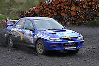 Stephen Baillie / David O'Brien at Junction 9 on Craignell, Special Stage 1 of the Ian Broll Merrick Stages Rally 2012, Round 7 of the RAC MSA Scotish Rally Championship which was organised by Machars Car Club and Scottish Sporting Car Club and based in Wigtown on 1.9.12.