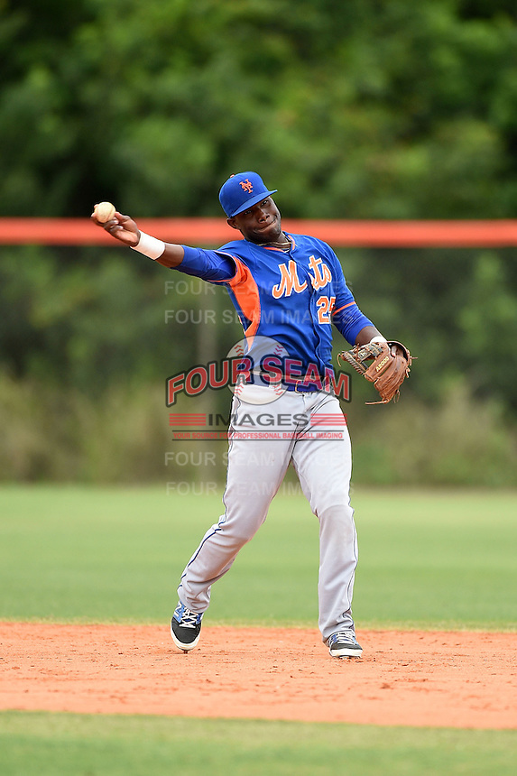 New York Mets second baseman Anthony Chavez (25) during a minor league spring training game against the St. Louis Cardinals on March 27, 2014 at the Port St. Lucie Training Complex in Port St. Lucie, Florida.  (Mike Janes/Four Seam Images)