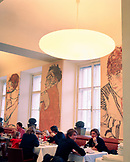 AUSTRIA, Vienna, lunch crowd at the Albertina Museum Restaurant. Surrounded by Gustav Klimt's paintings