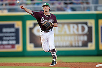 Mississippi State shortstop  Adam Frazier #12 throws the ball to first base against the LSU Tigers during the NCAA baseball game on March 17, 2012 at Alex Box Stadium in Baton Rouge, Louisiana. The 10th-ranked LSU Tigers beat #21 Mississippi State, 4-3. (Andrew Woolley / Four Seam Images).
