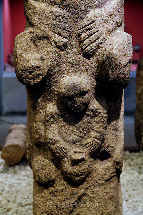 Urfa Museum Turkey. A Statue Showing a Totem figure giving birth from Gobekli Tepe the Archaeological site of the Worlds oldest known religious structure. Predating Stonehenge by over 6000 years. Discovered by Klaus Schmidt it features Megalithic Stone Slabs arranged and Carved with Abstract Animal and Plant Designs, done by a Prehistoric/Neolithic hunter gatherer people.gatherer people.
