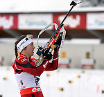 Synnoeve Solemdal (NOR) in action during the IBU Biathlon World Cup <br /> <br /> Pierre Teyssot