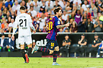 Lionel Messi of FC Barcelona (R) celebrating his score during their La Liga 2018-19 match between Valencia CF and FC Barcelona at Estadio de Mestalla on October 07 2018 in Valencia, Spain. Photo by Maria Jose Segovia Carmona / Power Sport Images