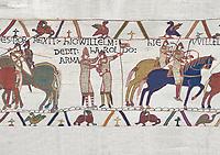 Bayeux Tapestry scene 21 : Duke William knights Harold for fighting against Duke of Britany. BYX21