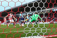 Matthew Bloomfield of Wycombe Wanderers (2nd right) scores his team's second goal of the game to make it 2-2 during the Sky Bet League 2 match between Doncaster Rovers and Wycombe Wanderers at the Keepmoat Stadium, Doncaster, England on 29 October 2016. Photo by David Horn.