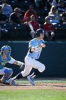 Brandon Riley (1) of the North Carolina Tar Heels bats against the UCLA Bruins at Jackie Robinson Stadium on February 20, 2016 in Los Angeles, California. UCLA defeated North Carolina, 6-5. (Larry Goren/Four Seam Images)