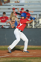 Sam Kagan (20) (Lynn) of the Lake Norman Copperheads at bat against the Mooresville Spinners at Moor Park on July 6, 2020 in Mooresville, NC.  The Spinners defeated the Copperheads 3-2. (Brian Westerholt/Four Seam Images)