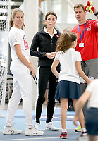 31 October 2017 - Princess Kate, Duchess of Cambridge speaks with British player Johanna Konta (L) as she prepares to take part in a Tennis for Kids session during a visit at the Lawn Tennis Association (LTA) at the National Tennis Centre in southwest London. Duchess of Cambridge visited the LTA, the national governing body of tennis, where she was briefed on the organisations latest activities and objectives, and had the opportunity to watch a number of tennis demonstrations at the National Tennis Centre's on-court facilities. Photo Credit: ALPR/AdMedia