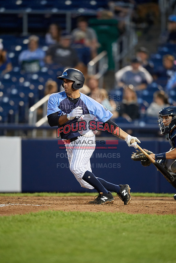 Trenton Thunder designated hitter Jorge Saez (18) grounds into a double play during a game against the New Hampshire Fisher Cats on August 19, 2018 at ARM & HAMMER Park in Trenton, New Jersey.  New Hampshire defeated Trenton 12-1.  (Mike Janes/Four Seam Images)