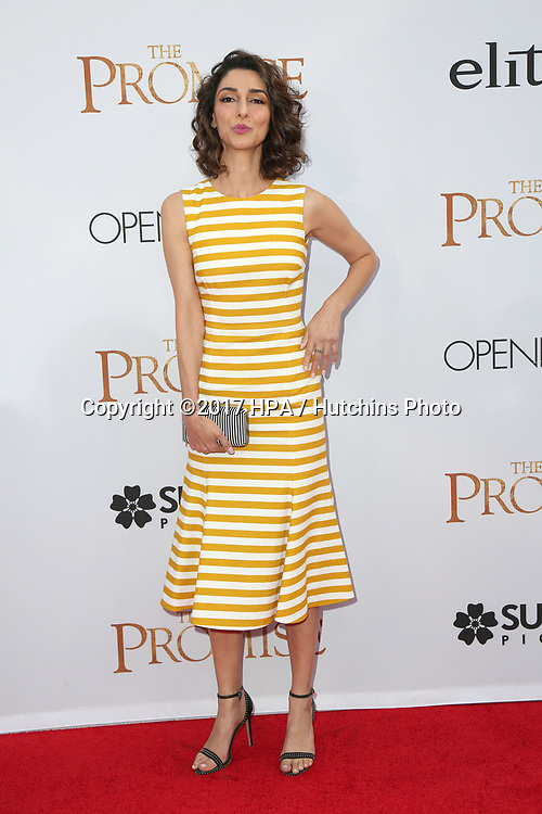 """LOS ANGELES - APR 12:  Necar Zadegan at the """"The Promise"""" Premiere at the TCL Chinese Theater IMAX on April 12, 2017 in Los Angeles, CA"""