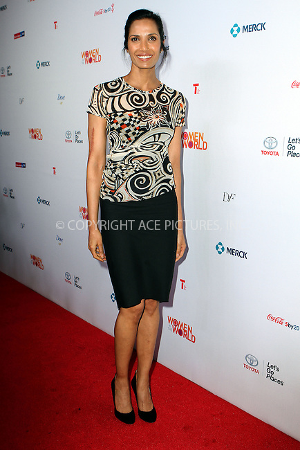 WWW.ACEPIXS.COM<br /> <br /> April 3 2014, New York City<br /> <br /> Padma Lakshmi attending the 5th Annual Women of the World Summit at the David H. Koch Theater on April 3 2014 in New York City<br /> <br /> By Line: Nancy Rivera/ACE Pictures<br /> <br /> <br /> ACE Pictures, Inc.<br /> tel: 646 769 0430<br /> Email: info@acepixs.com<br /> www.acepixs.com