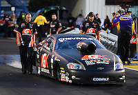 Sept. 28, 2012; Madison, IL, USA: NHRA crew members for pro stock driver Erica Enders during the Midwest Nationals at Gateway Motorsports Park. Mandatory Credit: Mark J. Rebilas-