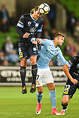 3rd November 2017, Melbourne Rectangular Stadium, Melbourne, Australia; A-League football, Melbourne City FC versus Sydney FC; Joshua Brillante of Sydney FC headers the ball