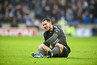 Eden Hazard of Chelsea (10) laughs at fans chanting him as a diving cheat  during the Premier League match between Brighton and Hove Albion and Chelsea at the American Express Community Stadium, Brighton and Hove, England on 20 January 2018. Photo by Edward Thomas / PRiME Media Images.