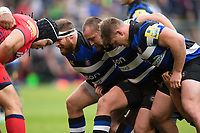 The Bath Rugby front row of Henry Thomas, Tom Dunn and Nick Auterac pack down for a scrum. Aviva Premiership match, between Bath Rugby and Worcester Warriors on October 7, 2017 at the Recreation Ground in Bath, England. Photo by: Patrick Khachfe / Onside Images