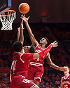 Jan 24, 2018; Champaign, IL, USA; Indiana Hoosiers guard Aljami Durham (1) blocks the shot from Illinois Fighting Illini guard Trent Frazier (1) during the first half at State Farm Center. Mandatory Credit: Mike Granse-USA TODAY Sports