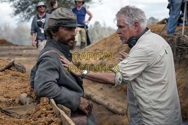 Free State of Jones (2016)<br /> BTS: Matthew McConaughey and Gary Ross discuss a scene in the bunker  <br /> *Filmstill - Editorial Use Only*<br /> CAP/KFS<br /> Image supplied by Capital Pictures
