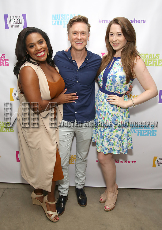 """Bryonha Marie Parham, Josh Canfield and Megan Loughran backstage at the New York Musical Festival production of  """"Alive! The Zombie Musical"""" at the Alice Griffin Jewel Box Theatre on July 29, 2019 in New York City."""