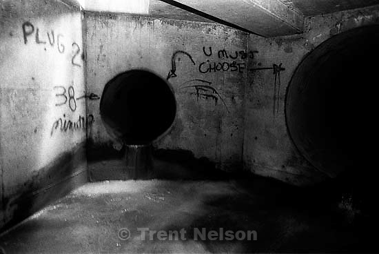 graffiti in sewer pipe.<br />