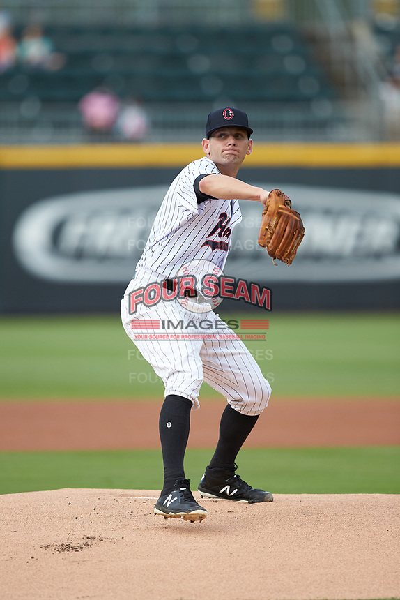 Charlotte Hornets starting pitcher Kyle Kubat (19) in action against the Louisville Bats at BB&T BallPark on June 22, 2019 in Charlotte, North Carolina. The Hornets defeated the Bats 7-6. (Brian Westerholt/Four Seam Images)